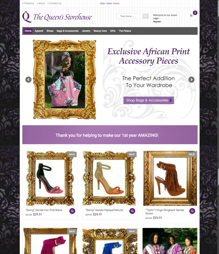 The Queen's Storehouse Website - An ecommerce platform built for a new business owner