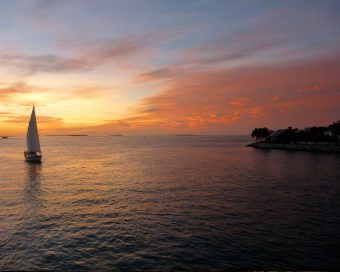 Sailboat on the bay near Key West Florida during sunset