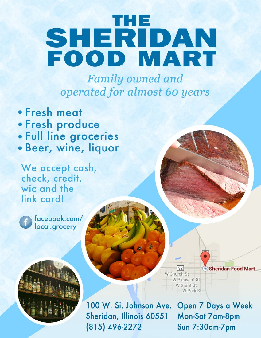 Sheridan Food Mart Flyer - Example of our design to promote local business