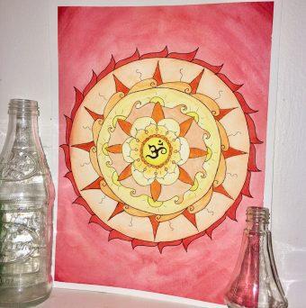 Ohm Sunfire Watercolor Mandala Artwork