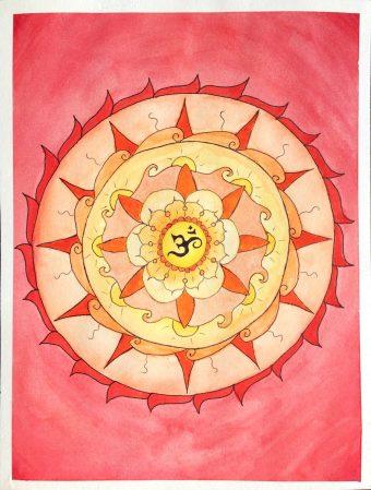 Om (Pravana) centered around a circle of sun and fire-like symbols. Watercolor Mandala Artwork.
