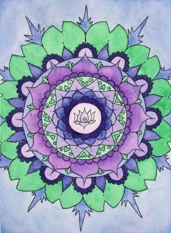 Mandala watercolor art of a lotus flower centered around purple lotus flower petals and green lily pads.