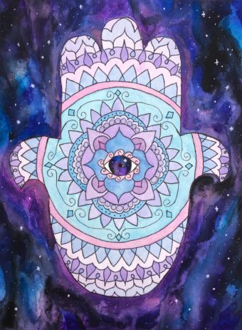 Watercolor artwork of a hamsa mandala with a galaxy eye and background.