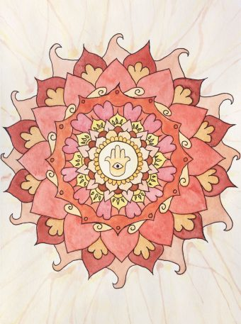 Watercolor artwork of a hamsa mandala inspired by autumn.