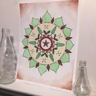 Watercolor artwork of a mandala with a star surrounded by nature-themed shapes.