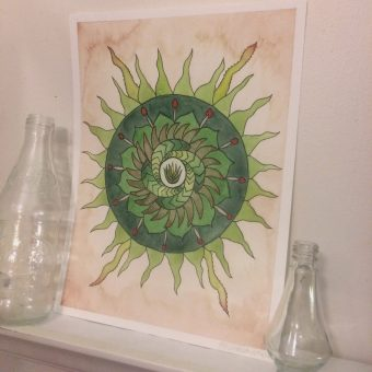 Original watercolor mandala art of a cute little aloe plant centered around other succulent-like patterns.