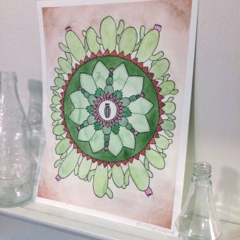 Mandala artwork of a cute little cactus centered around patterns inspired by the most famous plant in the desert.