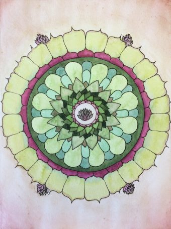 A succulent water color mandala print inspired by the hen and chicks variety.