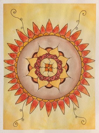 A watercolor mandala art of the manda small inspirational flower that started it all, surrounded by sunflower and henna like patterns.