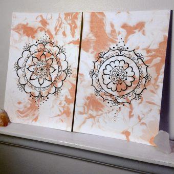 Polished Peach mandala artwork from a NJ local artist
